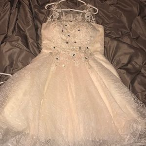 TS couture light peach dress
